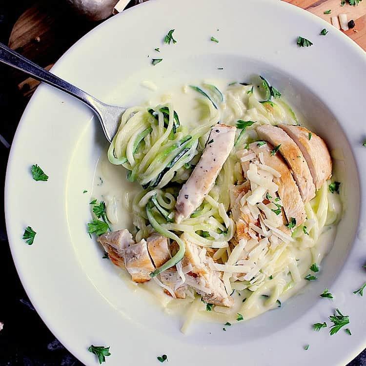 Bowl of keto fettuccini alfredo with chicken.