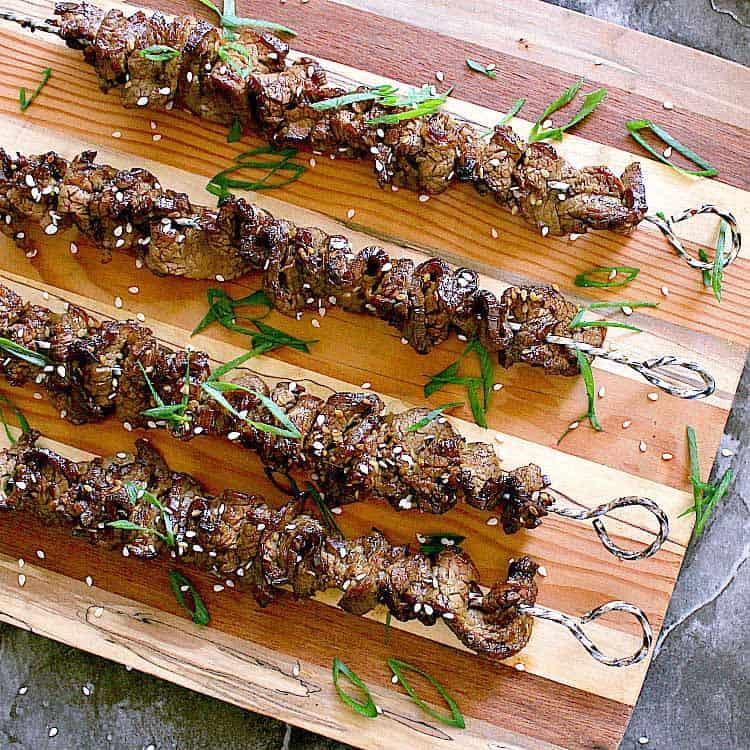4 skewers loaded with keto teriyaki beef.