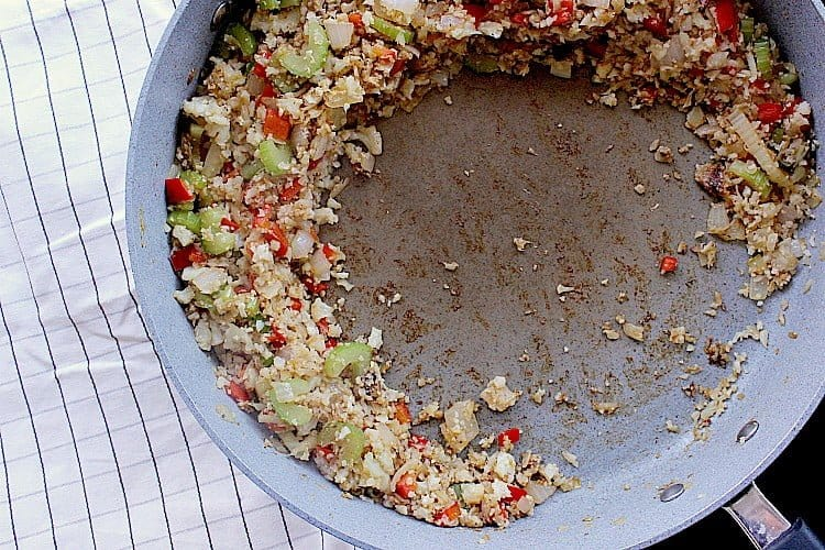 cauliflower fried rice push to the sides of the skillet, allowing room in the center for the eggs.