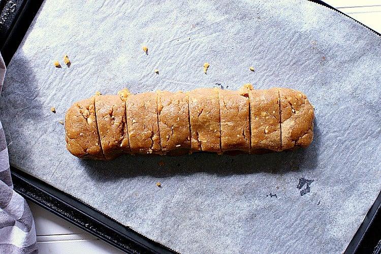 Dough formed into a log.