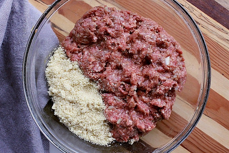 Bowl of ground beef and almond flour.