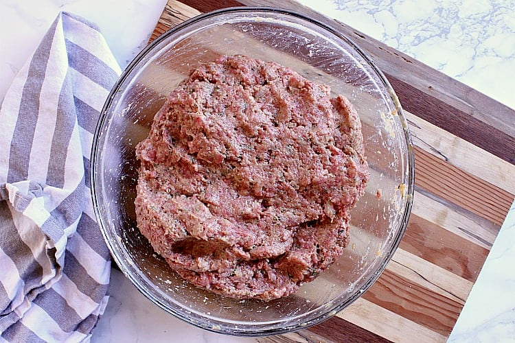 Low carb meatloaf mixed up and ready to be formed into a log.