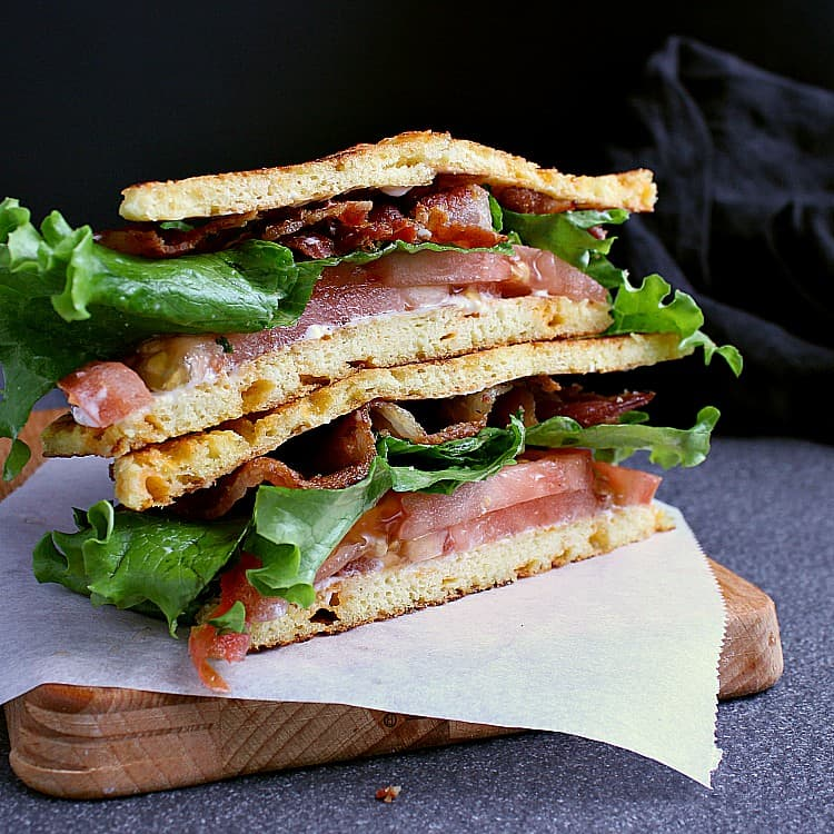 Keto BLT sliced in half and stacked on top of each other.