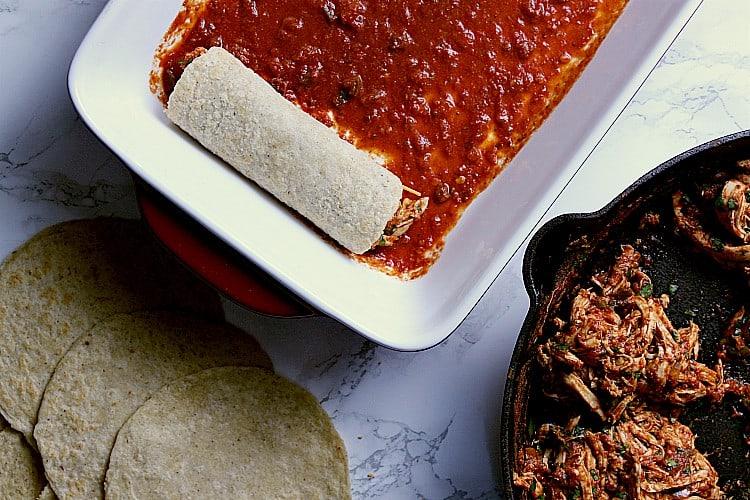 baking dish with 1 keto enchilada