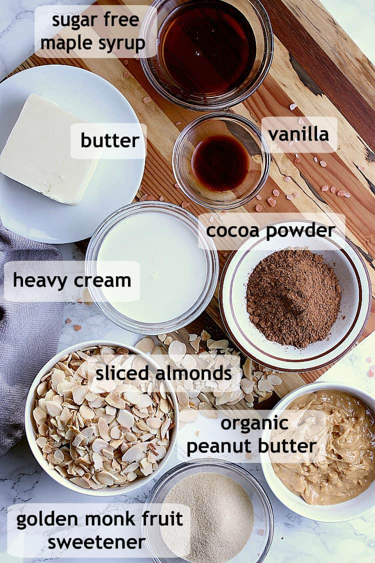 Separate little dishes of all of the different ingredients needed to make keto no bake cookies.