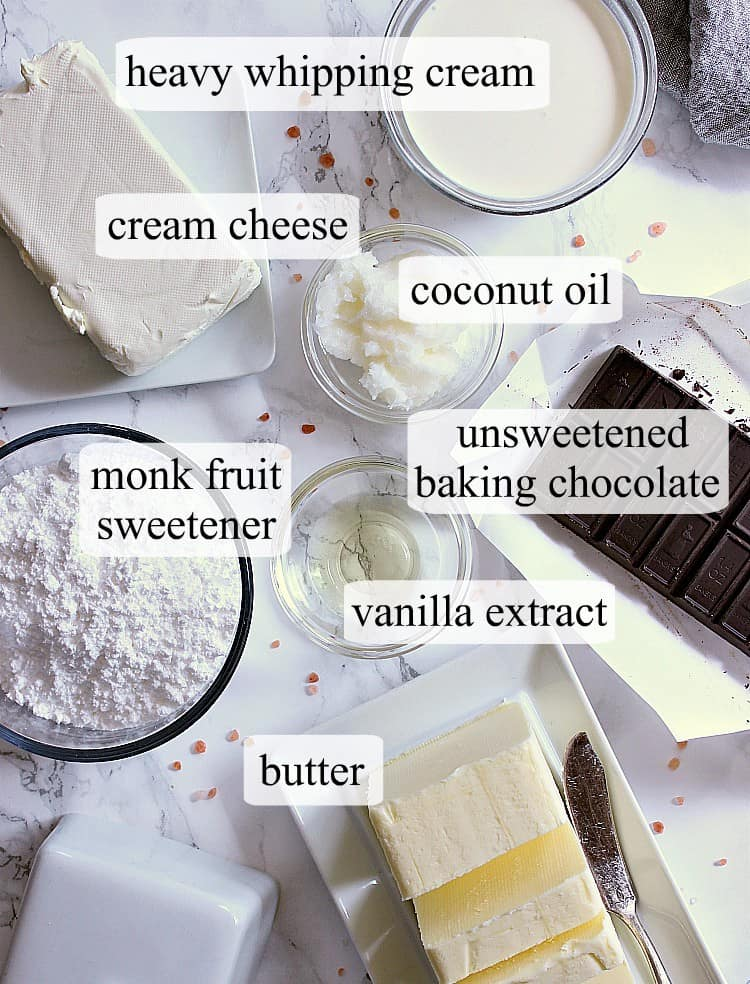 All of the ingredients needed to make sugar free easter eggs.