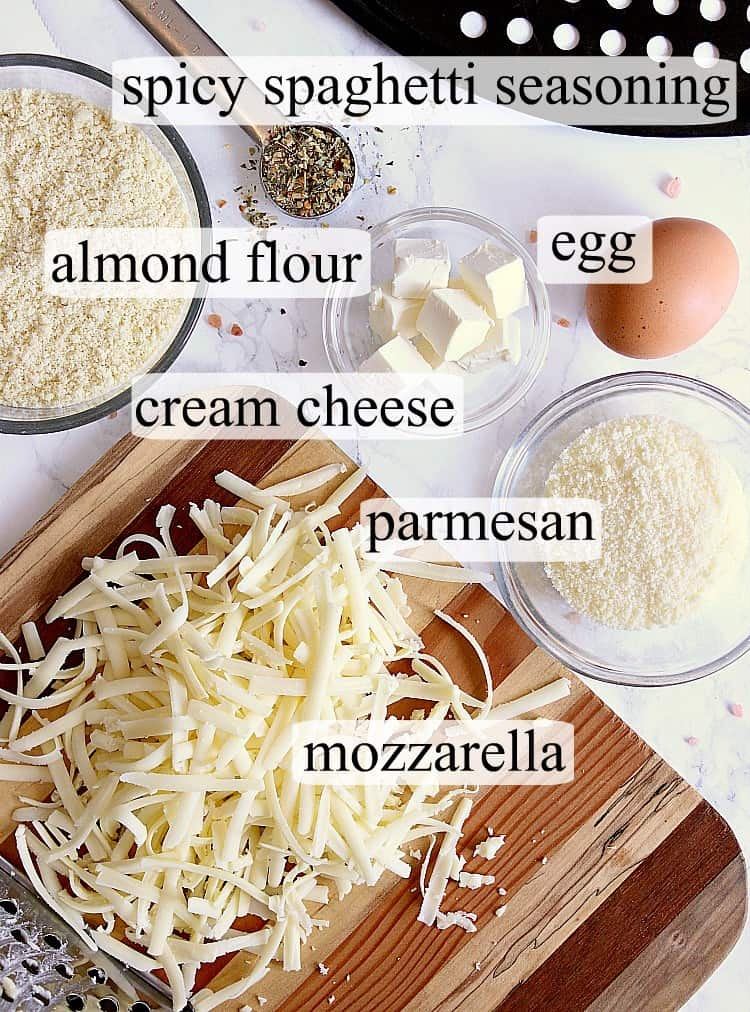 Fathead Pizza Crust ingredients laid out and labelled.
