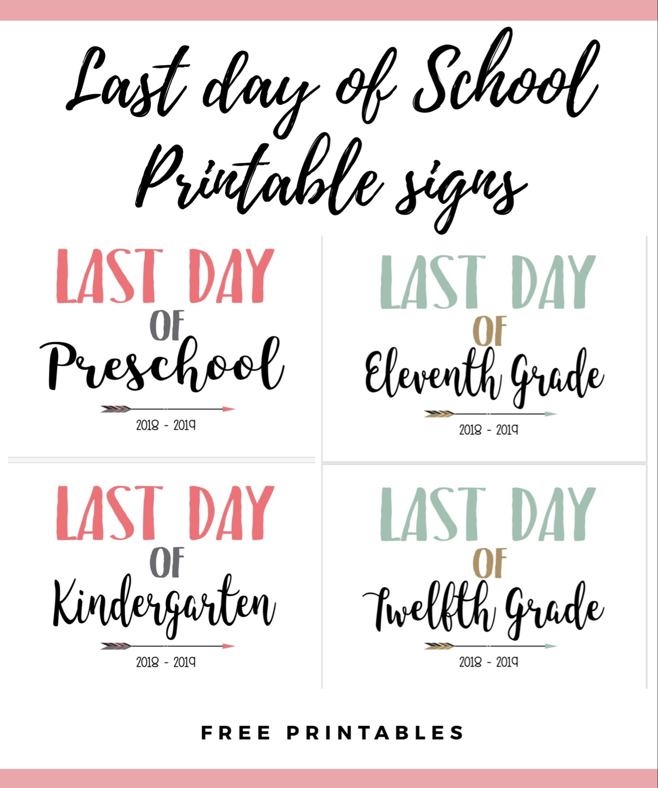 picture relating to Last Day of School Printable called Past Working day of University Printable Signs or symptoms Mama Endure Wooten