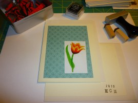 Tulip on Teal background