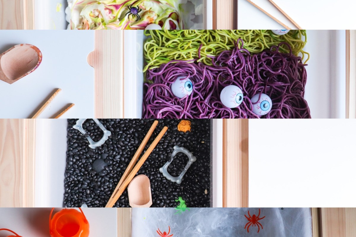 Cheap under $15 easy DIY dollar store and IKEA hack sensory bin ideas for toddlers and kids, Halloween themed activity