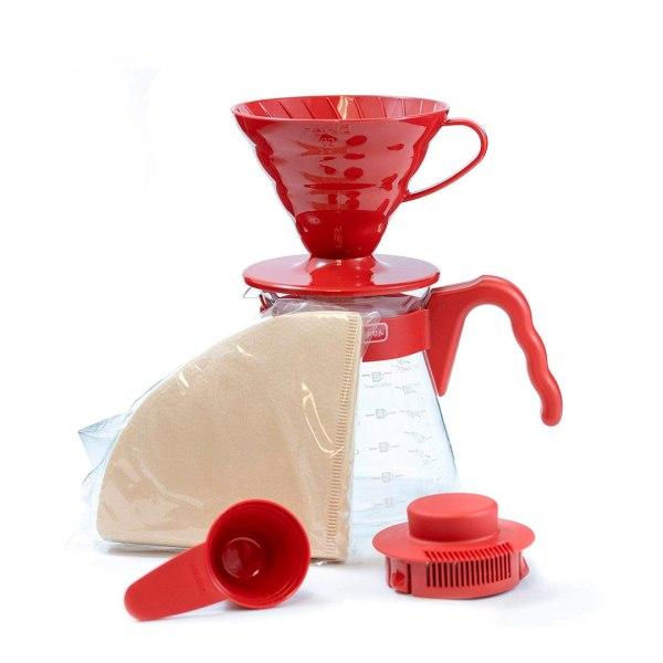 Набор Hario чайник сервировочный с красной пластиковой ручкой, 600 мл и пластиковая воронка для заваривания кофе