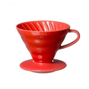 Красная керамическая воронка для заваривания кофе Hario V60