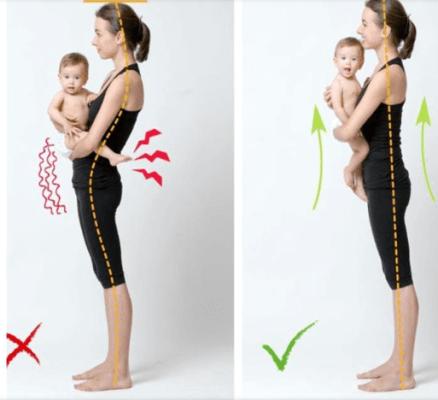 postura correta para dar colo para o bebê
