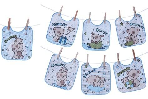 Para enxoval de bebê: kit com um babador para cada dia da semana