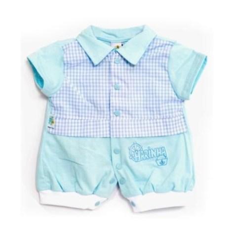 Macaquinho para bebê com blusca xadrez