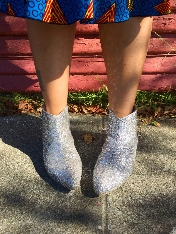 Sliver glitter ankle boots