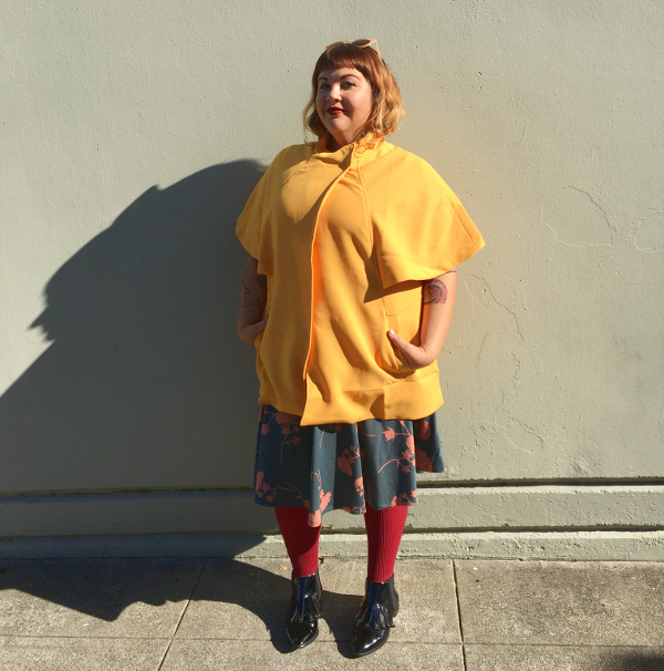Plus size mustard cape jacket