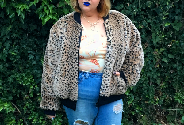 Leopard faux fur bomber jacket plus size
