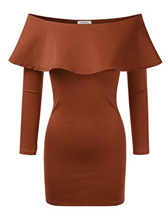Doublju Flounce Off-the-shoulder Bodycon Mini Dress