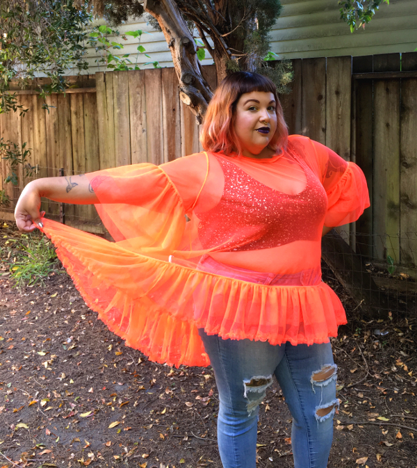 Neon orange plus size mesh top