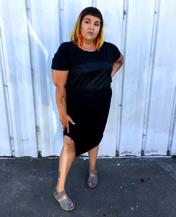 Universal Standard black top and skirt