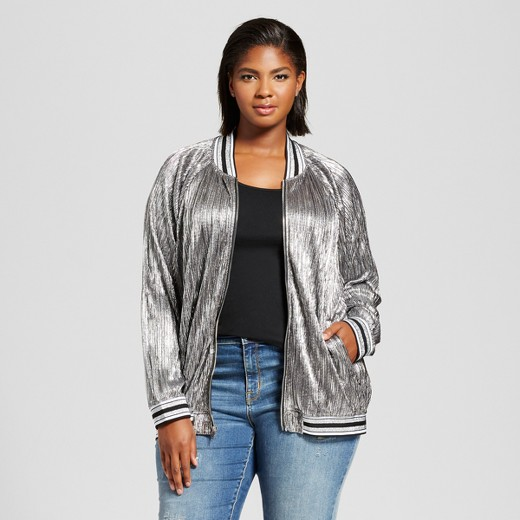Women's Plus Size Pleated Metallic Bomber Jacket - Ava & Viv