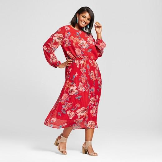 64c831390cc Women s Plus Size Printed Pleated Cold Shoulder Dress - Ava   Viv