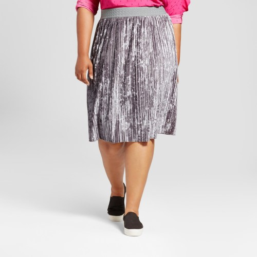 Women's Plus Size Velvet Pleated Skirt - Ava & Viv