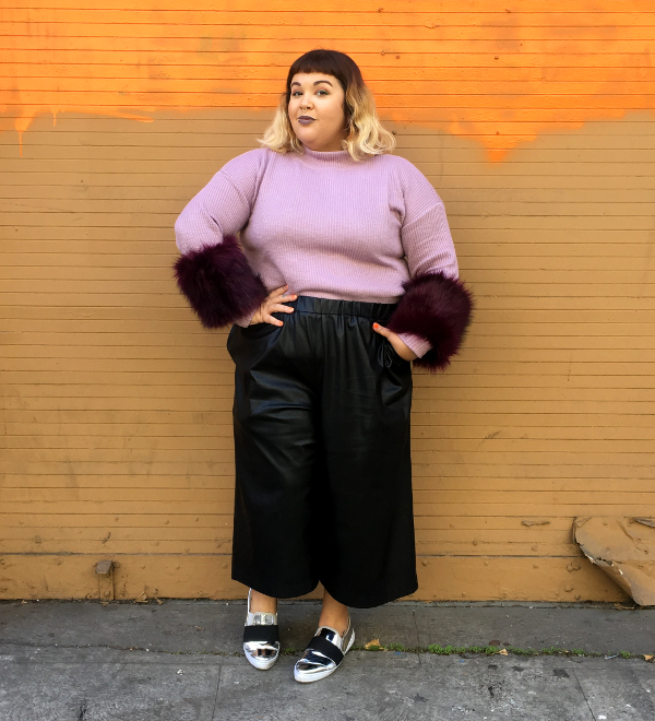 Plus size leather gaucho pants