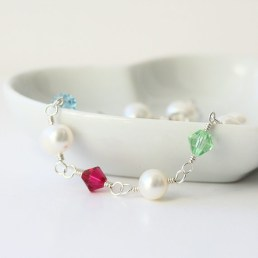 Freshwater Pearl and family birthstone bracelet