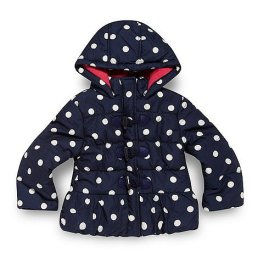 Girl's navy spotted duffle coat