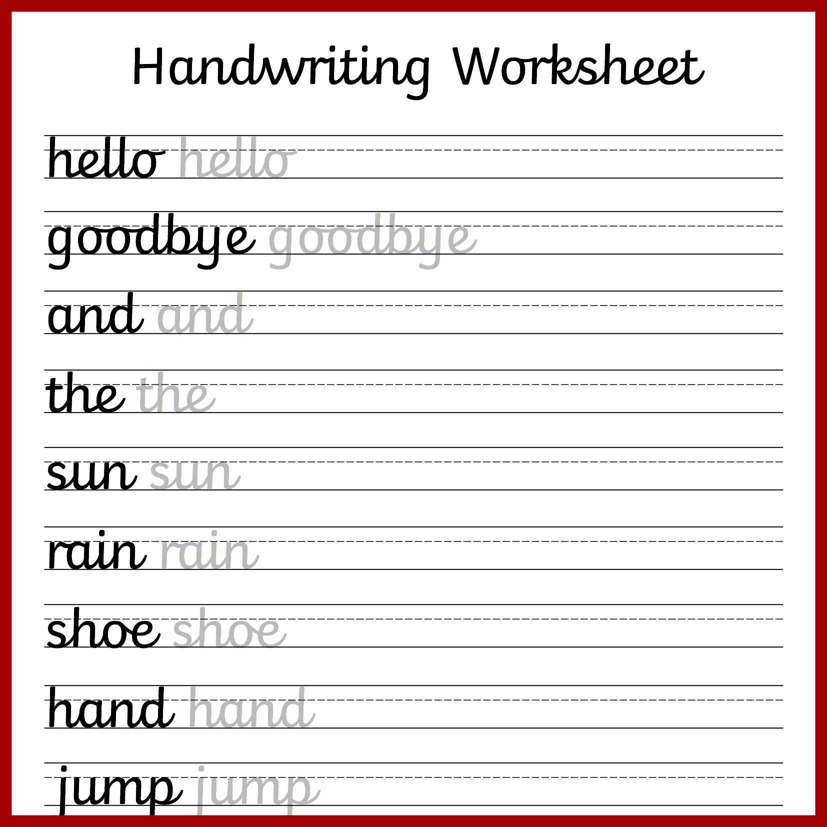 Handwriting Cursive Writing Worksheet