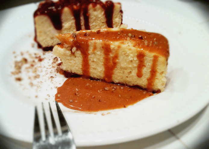 Cheesecake with Strawberry or Butterscotch Sauce | Mama Harris' Kitchen
