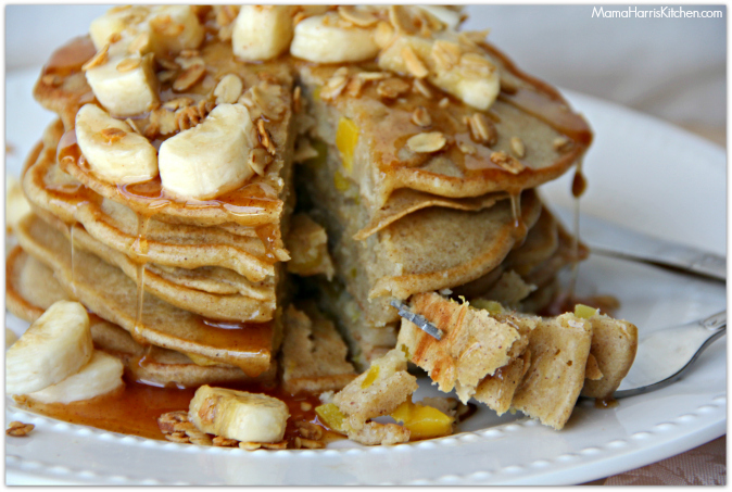 mango pancakes with cinnamon honey syrup