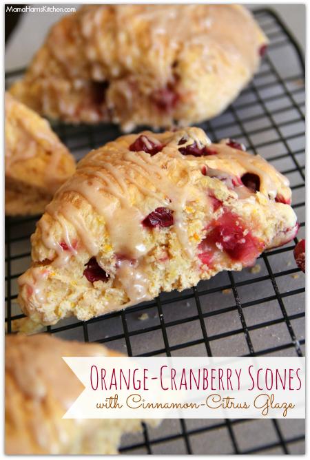 Orange-Cranberry Scones with Cinnamon-Citrus Glaze #drinkTEN