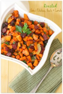 Roasted Sweet Potatoes, Beets and Carrots