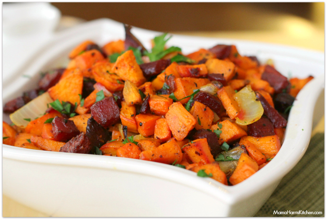 roasted sweet potatoes, beets and carrots #PantryInsiders #ad - Mama Harris' Kitchen