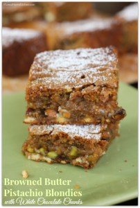 Browned Butter Pistachio Blondies with White Chocolate Chunks