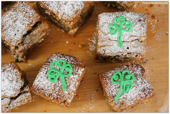 browned butter pistachio blondies with white chocolate chunks - Mama Harris' Kitchen