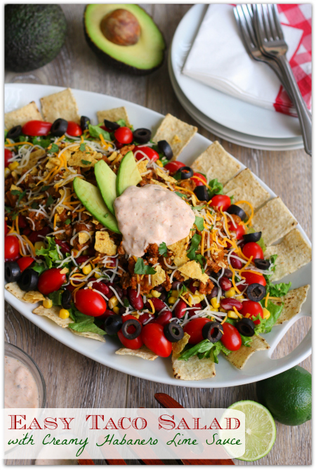 Easy Taco Salad with Creamy Habanero Lime Sauce #700ReasonsforSummer #IC #ad