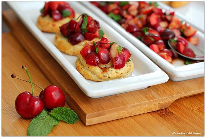 Savory Cherry Puff Pastry Bruschetta