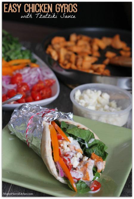 Easy Chicken Gyros with Tzatziki Sauce #FosterFarmsFresh AD   Mama Harris' Kitchen