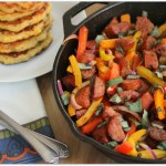 Peppers and Sausage with Corn Cakes