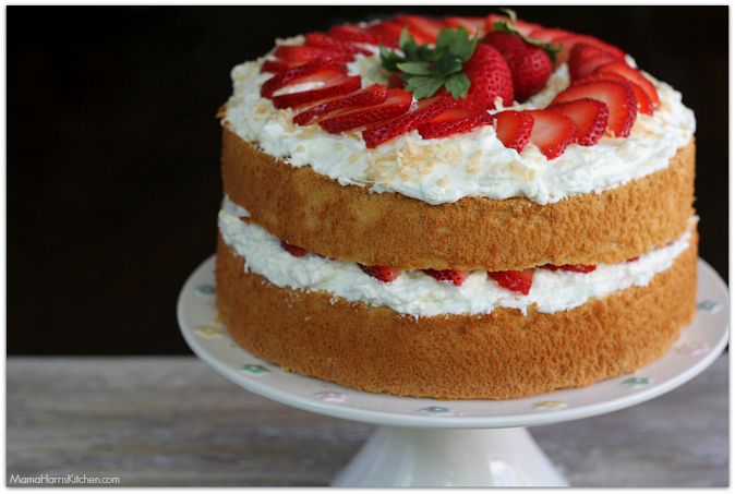 Strawberries and Cream Angel Food Cake with Toasted ...
