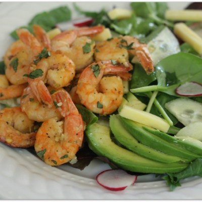 garlic butter shrimp over cucumber radish salad with kerrygold butter and blarney castle cheese | Mama Harris' Kitchen