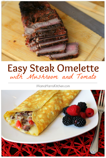 easy steak omelette with mushroom and tomato using grilled steak marinated in hot sauce #KingOfFlavor #ad | Mama Harris' Kitchen