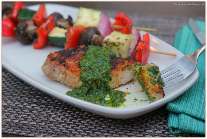 Grilled Boneless Pork Chops with Chimichurri sauce #GrillPork National Pork Board (ad) | Mama Harris' Kitchen