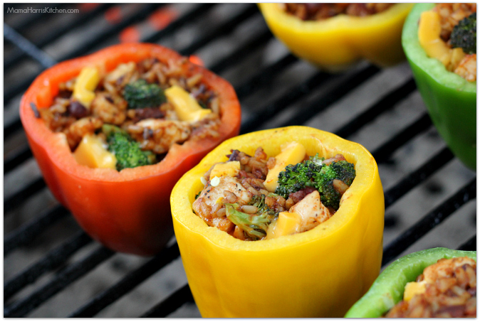 Chili Cheese Grilled and Stuffed Bell Peppers #LiquidGold5 with VELVEETA (ad) - Mama Harris' Kitchen