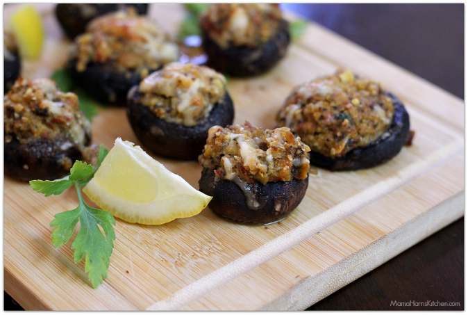 crab stuffed mushrooms - Mama Harris' Kitchen