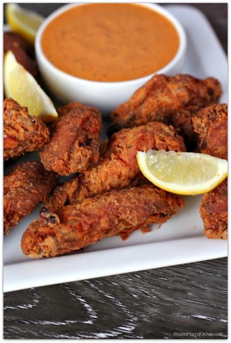 cajun buttermilk fried wings with spicy aioli #ChicksWingIt #WingItWednesday   Mama Harris' Kitchen